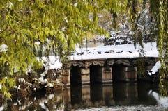 Brug in sneeuw stock afbeeldingen