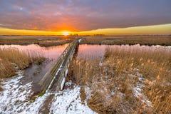 Brug in sneeuw de Winterlandschap Royalty-vrije Stock Foto's