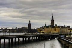 Brug in Stockholm, Zweden Stock Afbeelding
