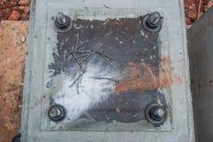 Brug van de de steunpijp van de bouwgrondplaat de concrete Stock Afbeelding