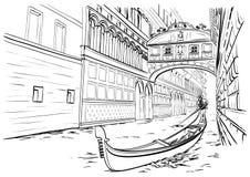 Brug van Sighs, de schets van Venetië Stock Foto's