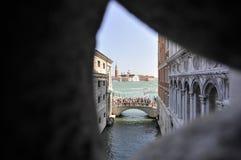 Brug van teken, in Venetië Stock Fotografie