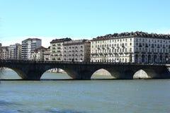 Brug van Vittorio Emanuele I, rivier Po, Turijn, Italië Stock Foto