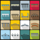 Brug vastgestelde pictogrammen, vlakke stijl Royalty-vrije Stock Foto's
