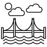 Brug, vector de lijnpictogram van San Francisco, teken, illustratie op achtergrond, editable slagen Royalty-vrije Stock Foto's
