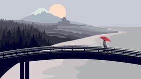 Brug, vrouw met rode paraplu, bergen. Royalty-vrije Stock Afbeelding