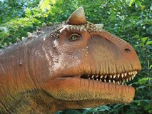 A replica of a Carnotaurus. Brugelette, Belgium - August 2, 2018: A replica of a Carnotaurus royalty free stock photos