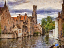Bruges. View on canal in Bruges. Belgium. Oil painting