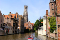 Bruges. Famous view of the canals of Bruges and the Belfry Stock Image