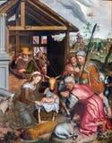Bruges - a adoração da cena de Pastores por Petrus Pourus (1571) na igreja nossa senhora Imagem de Stock