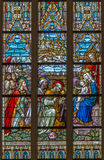 Bruges - The Adoration of Magi scene on the windowpane in St. Salvator's Cathedral (Salvatorskerk). Stock Images