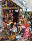Bruges - The Adoration of Pastores scene by Petrus Pourus (1571) in the church Our Lady. Stock Image
