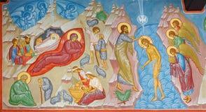 Bruges - affresco della scena di natività e del battesimo della scena di Cristo in st Constanstine e nella chiesa ortodossa di He Immagine Stock