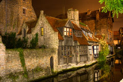 Bruges alla notte Immagine Stock
