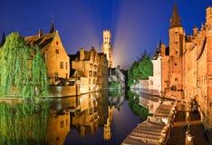 Bruges alla notte Fotografia Stock Libera da Diritti