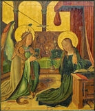 Bruges - The Annunciation scene by unknown painter from 15. cent. in the church Our Lady. Stock Images