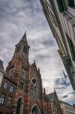 Bruges arkitektur och domkyrka Arkivfoton