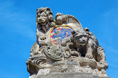 Bruges - The Arms of the town Bruges (lion and bear). On the fountain Royalty Free Stock Photography