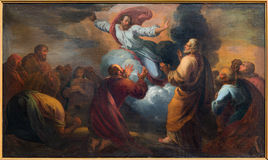 Bruges - The Ascension of the Lord paint by unknown painter in Saint Walburga church. Stock Photography