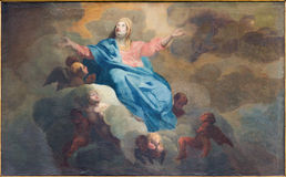 Bruges - The Assumption of Virgin Mary paint by J. Garemijn (1750) in Saint Walburga church. Stock Photography