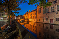 Bruges on an autumn evening. The canals of Bruges, Belgium on an autumn evening Royalty Free Stock Images