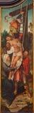 Bruges - avlagring av korset av den okända målaren av den Falmisch skolan i kyrka eller Katharinakerk för st Katharine Arkivbild