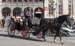 BRUGES, BÉLGICA EUROPA - 25 DE SETEMBRO: Cavalo e transporte no miliampère Fotografia de Stock