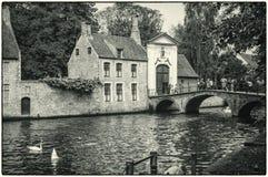 Bruges, Bélgica O lugar da cisne perto do beguinage foto de stock