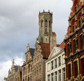 Bruges Belfort Tower And Homes. Bruges, Belgium Tower And Medieval Homes View Royalty Free Stock Photography