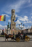 Bruges Belfry Clock Tower Belgium Stock Image