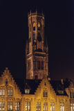 Bruges Belfry Tower at Night Royalty Free Stock Photos