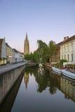 Bruges Belgien Dijver kanal royaltyfri foto