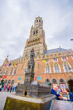 Bruges, Belgio - 11 agosto 2015: Punto di riferimento famoso Fotografie Stock