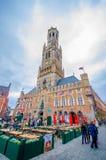 Bruges, Belgio - 11 agosto 2015: Punto di riferimento famoso Fotografie Stock Libere da Diritti