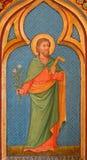 BRUGES, BELGIO - 13 GIUGNO 2014: Pittura di Saint Joseph dall'altare laterale nel chruch di St Giles Fotografia Stock Libera da Diritti
