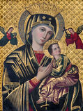 BRUGES, BELGIQUE - 13 JUIN 2014 : L'icône de Madonna dans l'église de St Giles Photographie stock libre de droits