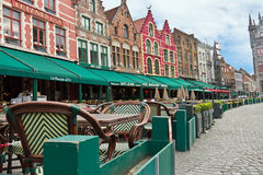 BRUGES/BELGIUM - April 13, 2014: Cafes and pubs in the medieval Stock Image