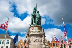 Monument to Jan Breydel and Pieter de Coninck in Bruges, Belgium. Bruges, Belgium - April 17, 2017: Monument to Jan Breydel and Pieter de Coninck in Bruges Royalty Free Stock Photo