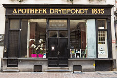 BRUGES/BELGIUM - April 13, 2014: Old apothecary drugstore storefront Royalty Free Stock Image