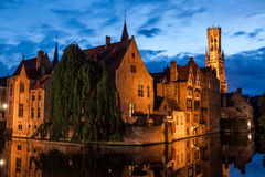 Bruges, Belgium. Buildings on canal at night in Bruges, Belgium Royalty Free Stock Photography
