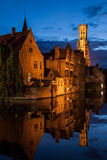 Bruges, Belgium. Buildings on canal at night in Bruges, Belgium Royalty Free Stock Image