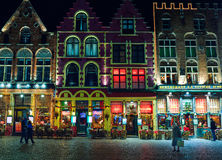 BRUGES, BELGIUM - DECEMBER 05 2016 - Christmas Old Market square in Bruges Stock Photo