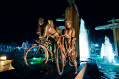 BRUGES, BELGIUM - DECEMBER 05 2016 - The Cyclists fountain in squre t`Zand in Bruges. Belgium Royalty Free Stock Images