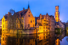 Bruges, Belgium at dusk. Royalty Free Stock Photo