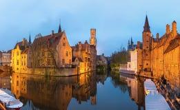 Bruges, Belgium at dusk. Royalty Free Stock Images