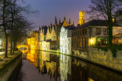 Bruges, Belgium at dusk Stock Photos