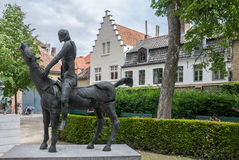 Bruges Belgium Equestrian Monument Royalty Free Stock Image