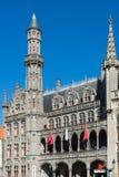 BRUGES, BELGIUM/ EUROPE - SEPTEMBER 25:City Hall in Market Square in Bruges West Flanders Belgium on September. 25, 2015. Unidentified people stock photography