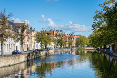 BRUGES, BELGIUM/ EUROPE - SEPTEMBER 26: View along a canal in Br Stock Photos