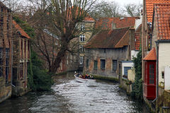 Bruges Belgium Flanders. Canal lifting   Europe boat tour Stock Photo